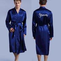 العريس رداء الحرير مضاهاة لينة الرئيسية البشكير ثوب النوم للرجال كيمونو اسم مخصص وتاريخ شخصية لحفل زفاف CX200622