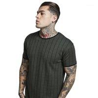 Siyah Koyu Yeşil Longline Kısa Sleeve Erkekler Tees Erkekler Pamuk Çizgili Uzun Tişört Yaz Tops