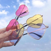 For Men And Women Sunglasses Double Colors Love Heart Shape ...