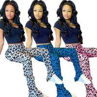 Womens Micro Flare Stacked Hosen Leopard-Druck-Designer Stacked Hosen natürliche Farben-beiläufige Stacked Hosen der Frauen Kleidung
