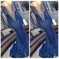 2019 Bling borlas top lentejuelas sirena vestidos de fiesta largos delgados mangas largas flecos con cuentas tren de barrido fiesta de noche formal usar vestidos