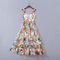 Avrupa ve Amerikan kadın giyim 2020 Yaz Yeni Stil Condole Kemer V Yaka Lamine Kek Çiçek Baskı Elbise