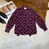 printed brand Shirts Belted rhombic long sleeve silk blouse ...
