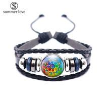 Hochwertiges mehrschichtiges Lederarmband für Männer Frauen Mandala Blumenmuster Glasschale om Symbol Yoga Buddhismus Charm Armband