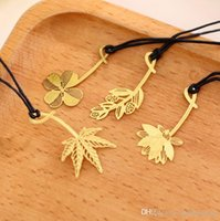 Simple mode signet étudiant mimosas lotus feuille d'érable trèfle métal marque-page fournitures scolaires de bureau papeterie beau cadeau
