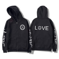 Lil Peep R.I.P. LOVE 남성 지퍼 후드 티백 흑백 Kpop 하라주쿠 겨울 여성용 남성 운동복 2019 Kpop Outerwear 4XL