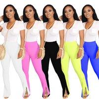 Mulheres sólidas track calças para esportes cintura alta skinny calças longas dividido fundo lady lady flare calças 2020 verão venda quente 5 cores