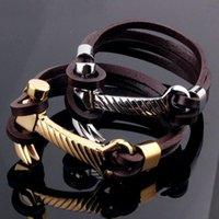 """Venta caliente del acero inoxidable de oro / plata del tono Negro cuero auténtico martillo Diseño pulsera de cadena de joyería de hombres del muchacho de 9"""""""