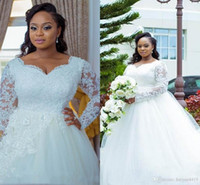 African Plus Size A Line Wedding Dresses Sweetheart Long Sle...