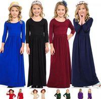 Çocuk Princess Beach Elbise Bohemian Maxi Elbiseler Kız Çocuk Uzun Kollu Elbise Kıyafetler Casual Parti Giyim elbise LJJK2024 için