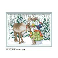 الأيائل و ثلج ديكور المنزل لوحات عد المطبوعة على قماش dmc 11ct 14ct diy يدوية الصليب الابره مجموعات التطريز