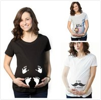 Pregnant T shirts Maternity White Tees Tops Women clothing L...