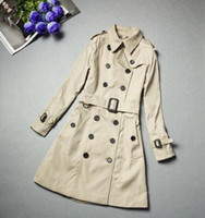 Великобритания Классический Женщины моды Англия Длинные плащи Британский дизайнер Double Breasted Тонкий куртки весна осень Belted Желоб для дам