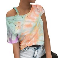 Casual Women Gradient Color Print Tshirt Off Shoulder Short Sleeve Summer 2020 New Fashion Tie-dye T-Shirts Plus Size