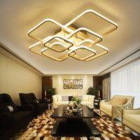 مربع دائرة حلقات مصباح السقف غرفة المعيشة غرفة نوم المنزل AC85-265V الحديثة أدى ضوء السقف الثريا الإضاءة