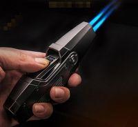 최신 정직한 강력한 제트 토치 가벼운 점화 더블 화재 직선 가스 부탄 담배 Windproof 라이터 아웃 스도드 바베큐 부엌 도구