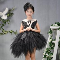 Flower Girls dress for Kids Appliques Abiti da sposa asimmetrici Princess Swan Beading Birthday Dress Bambini Christmas Dress 2-12Year