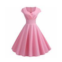 Różowa Summer Sukienka Kobiety V Neck Duży Huśtawka Vintage Dress Robe Femme Eleganckie Retro Pin Up Party Office Midi Suknie Plus Rozmiar