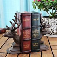 2 Piezas de hierro fundido Deer sujetalibros de metal libro termina soporte de mesa de vector antiguo estudio del hogar decoración de la oficina Elk Cabeza Cuerno animal arte del metal de Brown