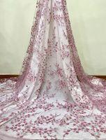 Последние Pink African 3D Flower блестки ткань шнурка 2019 высокого качества Нигерийский Свадебные Тюль Кружево Ткань для африканских женщин Люкс BF0090
