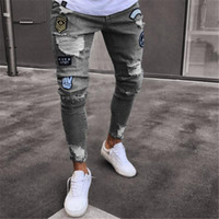 Jeans Men Hip Hop rasgado Sweatpants magro Motorcycle Denim Pants Zipper Jeans Preto Mens Casual Men Calças