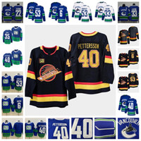 50. Vancouver Canucks 40 Elias Pettersson-Brock Boeser Daniel Henrik Sedin Denker Demko Bo Horvat Blau Weiß Schwarz Drittel Hockey Trikots