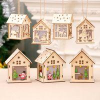 크리스마스 트리 장식 DIY 홈 휴일 장식 멋진 웨딩 크리스마스 축제 선물 DBC VT1213 매달려 크리스마스 LED 캔들 라이트 우드 하우스