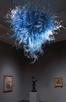 Light Art Big Size lungo Stair Lampadario Moda LED blu Murano Glass Chandelier Per hotel decoretion