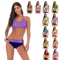 Fashion Stripe Bikini Skinny Swimwear Enlarge Swimsuit Multi...
