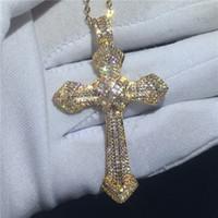 Choucong أزياء كبير الصليب المعلقات 5A تشيكوسلوفاكيا الذهب معبأ 925 الفضة حفل زفاف قلادة مع القلائد للنساء الرجال المجوهرات