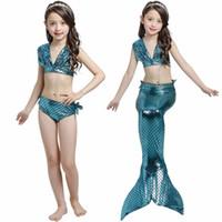 Kızlar Mayo Çocuklar Mayo Mermaid Kostümleri Yüzme Giysileri Küçük Ariel Cosplay Kuyrukları