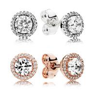 925 Silver Piazza Grande CZ Orecchini di diamanti PANDORA gioielli in oro rosa placcato oro delle donne dell'orecchio Orecchini-JJE013
