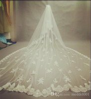 Gorgeous 3m Lace Cathedral Wedding Veil With Sparkling Diamo...