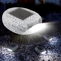 태양 전원 LED 도로 스터드 라이트 자갈 장식 돌 풍경 조명 야외 파티오 잔디밭 정원 야외 방수