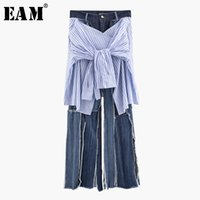 [EAM] 2019 New Spring Summer High Waist Loose Long Blue Striped Bandage Vent Wide Leg Jeans Women Trousers Fashion Tide JT852