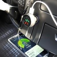 3 Em 1 Vst-706 Digital Led Car Voltímetro Termômetro Auto Usb Charger 12 v / 24 v Medidor de Temperatura do Cigarro Lighterfree grátis
