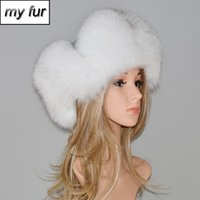 Winter Fur Hat For Women Natural Raccoon Fox Fur Russian Ush...