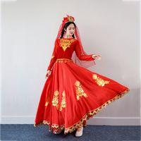 Xinjiang Étnico Actuaciones Ropa Para Adultos Rojo Uygur traje de la danza India sari estilo etapa desgaste vestido largo