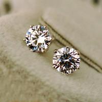 고품질 S925 스털링 실버 2ct / 4ct CZ 다이아몬드 스터드 귀걸이 지르콘 스톤이있는 여성 결혼 기념일 결혼 선물 Bijouterie