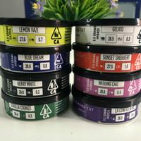 8 modèles en stock 3.5Grams colorés Diamond Cut Exotiques Cali Tin Cans exotiques avec des autocollants Étiquettes de Cali presse boîtes 73 * Boîtes 23mm