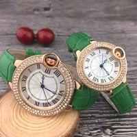 uomini e donne orologi di lusso cassa in oro con il vestito da movimento al quarzo cinturino in pelle di diamante della vigilanza di marca stilista miglior amante regalo