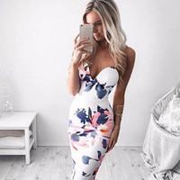 패션 여성 붕대 Bodycon 민소매 이브닝 섹시 파티 미니 드레스 인쇄 중괄호 화이트 드레스 인쇄 Strapless Dresses