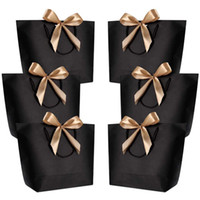 10PCS 핸들 웨딩 베이비 샤워 생일 파티 호의와 대형 선물 상자 포장 골드 핸들 종이 선물 가방 크래프트 종이
