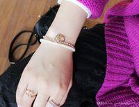Charm Bracciali per le donne 2016 nuovi monili di modo Bohenmia cuore con floreale imitazione del cuore di amore Elephant Pearl bei braccialetti