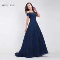 Vestidos de festa escura azul bairro longo 2021 Barco elegante pescoço de beading lace A-Line chão-comprimento de luxo noite plus size