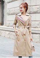 وصول جديد!! النساء الموضة إنجلترا طراز X طويل معطف خندق / جودة عالية مصمم العلامة التجارية مزدوج الصدر زائد حجم الخندق للنساء