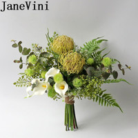 JaneVini Ocidental Estilo Verde noivas do casamento do jardim Bouquet Artificial Branco Calla Lily Silk Bridal Bouquets Flores Boda 2019