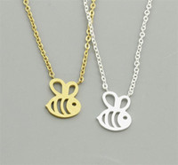 Silver Gold collana europea Little Fashion Bee pendente placcato la ragazza delle donne Collane