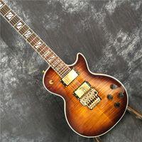 Özelleştirilmiş LP gitar vibrato ile elektro gitar, isteğe bağlı renkler, iyi kaplan deseni. EMS ücretsiz gönderim