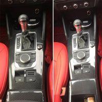 Pour Audi A3 2014-2019 Panneau de configuration centrale Intérieur Poignée de porte 3D / 5D en fibre de carbone autocollants Autocollants voiture styling Accessorie